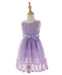 Peach Giirl Party Dress - Purple