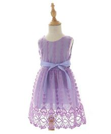 Peach Giirl Party Dress - Purple