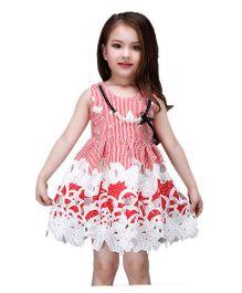 Peach Giirl Cutwork Dress - Red