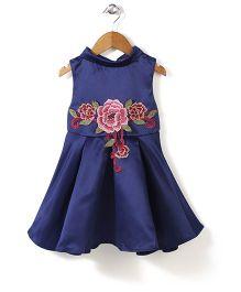 Peach Giirl Floral Dress - Navy Blue