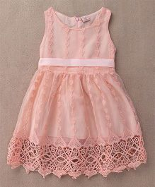 Peach Giirl Heart Design Dress - Peach