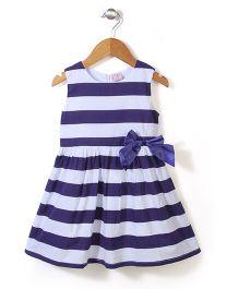 Peach Giirl Stripe Dress - Blue