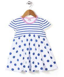 Peach Giirl Polka Dot Dress - White