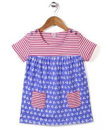 Peach Giirl Star Print Dress - Blue