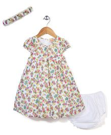 Nena Cap Sleeves Rose Print Frock With Bloomer & Head Band - White & Green