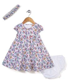 Nena Cap Sleeves Rose Print Frock With Bloomer & Head Band - Pink & Purple