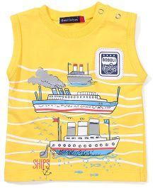Great Babies Ship Print T-Shirt - Yellow
