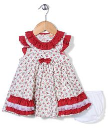 Nena Flower Print Dress With Bloomer - Red