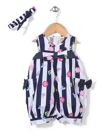 Nena Stripe Print Dungaree With Bloomer & Headband - Blue