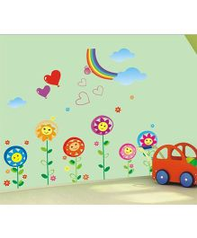 Studio Briana Smiling Colorful Flowers Under Rainbow Wall Art Decal - Multicolor