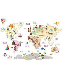 Studio Briana Animal And Climate Around The World Map Artistic And Funny Wall Decal - Multicolor