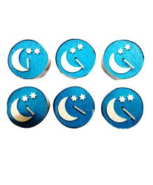 Planet Jashn Moon And Stars Candles Pack of 6 - Blue
