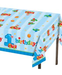 Planet Jashn Table Cover First Birthday Print - Blue