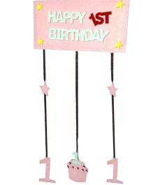 Planet Jashn Happy 1st Birthday Felt Hanging - Pink