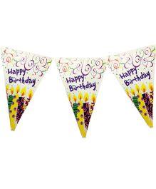 Planet Jashn Buntings Birthday Cake Print - Multi Color