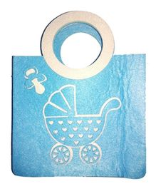 Planet Jashn Felt Bag Baby Carriage Print - Blue