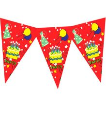 Planet Jashn Buntings Birthday Cake Print - Red