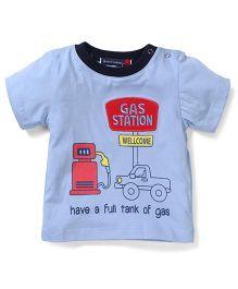 Great Babies Gas Station Print T-Shirt With Shoulder Batan - Blue