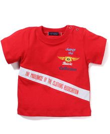 Great Babies Printed Tee With Shoulder Button - Red