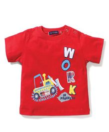 Great Babies Work Print T-Shirt With Shoulder Buttons - Red