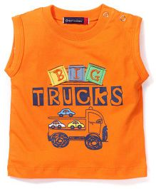 Great Babies Truck Print T-Shirt With Shoulder Button - Orange