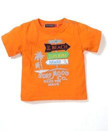 Great Babies Beach Print T-Shirt With Shoulder Button - Orange