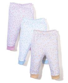 Zero Full Length Leggings White Base Set of 3 - Pink Sky Blue Light Orange