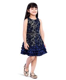 Tiny Baby Sleeveless Dress With Frills Hem - Blue