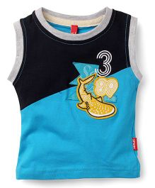 Spark Sleeveless T-Shirt Whale Patch - Blue Black