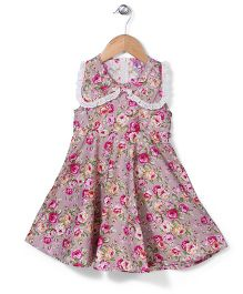 De Berry Rose Print Dress - Pink