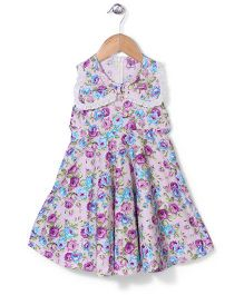 De Berry Rose Print Dress - Purple