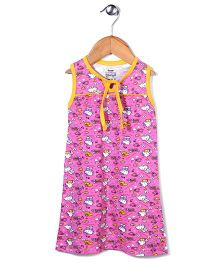 Red Rose Hello Kitty Printed Nighty - Pink