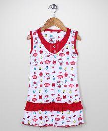 Red Rose Sleeveless Hello Kitty Print Nighty - Red White