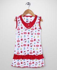 Red Rose Sleeveless Hello Kitty Print Nighty - Red & White