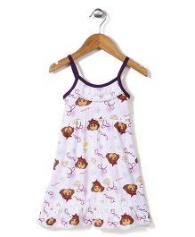 Dora Printed Singlet Full Length Nighty - White and Purple