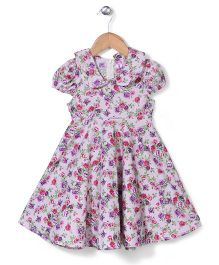 De Berry Lovely Rose Pattern Dress - Purple