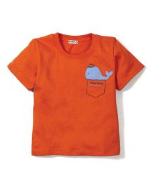 Bee Bee Fish Print T-Shirt- Orange