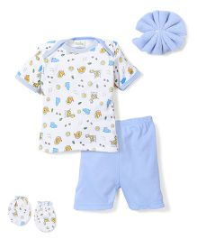 Babyhug Clothing Gift Set Animal Print Pack of 4 - Blue