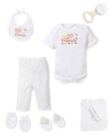 Babyhug Clothing Gift Set Teddy Embrodiery Pack of 9 - White
