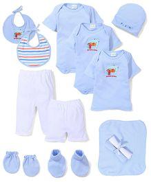 Babyhug My Best Friend Print Baby Gift Set - Blue