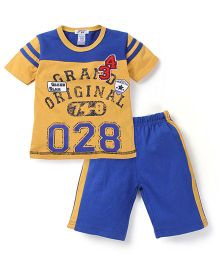 My Kids 028  Print T-Shirt & Short Set - Yellow & Blue