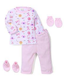 Babyhug Clothing Gift Set Animal Print Pack of 4 - Pink