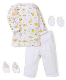 Babyhug Clothing Gift Set Animal Print Pack of 4 - Off White