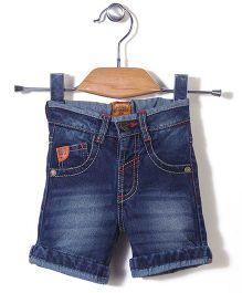 Button Noses Denim Shorts - Dark Blue