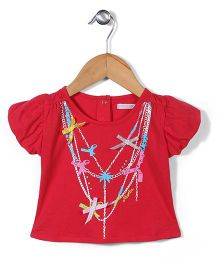 Kidsplanet Jewelry Print Top - Red