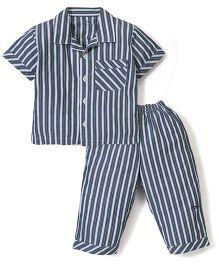 Little Wacoal Stripes Print Night Shirt & Pant - Navy Blue