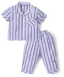 Kidsplanet Stripe Shirt & Pyjama set - White & Lavender