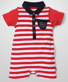 Little Wacoal Danger Print Romper - White Red & Navy