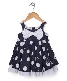 Absorba Dotted Printed Dress - Navy Blue & White