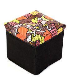 Ratnas Storage Cum Utility Box Multi Print - Multicolor And Black